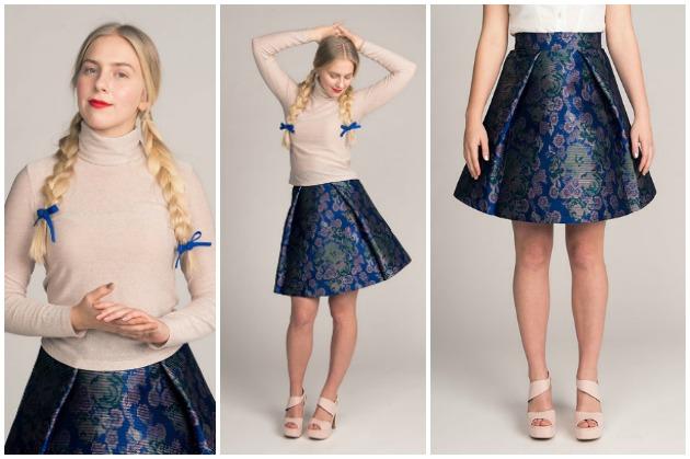 Named Patterns Paola Turtleneck Tee and Eleonora Pleated Mini Skirt