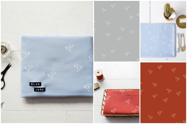 Atelier Brunette Cotton Cambric Bye Bye Birdie Blue Jean and Terracotta, Backstitch