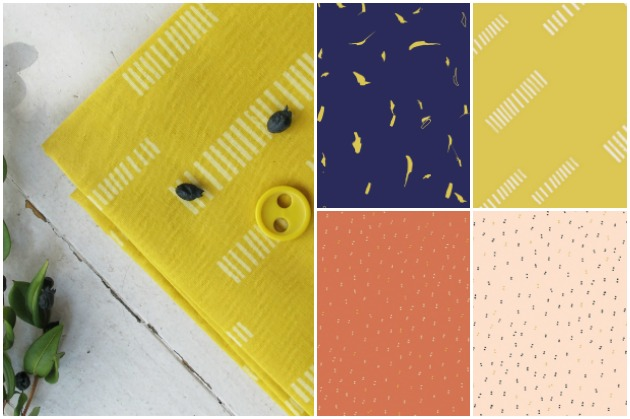 Atelier Brunette Cotton Cambric Dash Lime, Sparkle Melba, Sparkle Gold, Tabby Backstitch