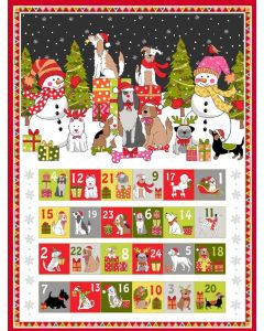 Yappy Christmas: Advent Panel | Makower UK | Christmas Quilting Fabric | Backstitch