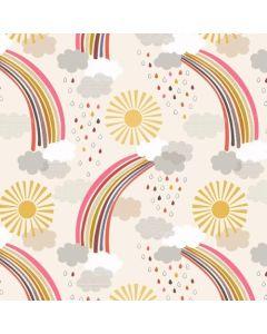 Calming Rainbows: Cream | Rainbows | Lewis & Irene Quilting Fabric | Backstitch