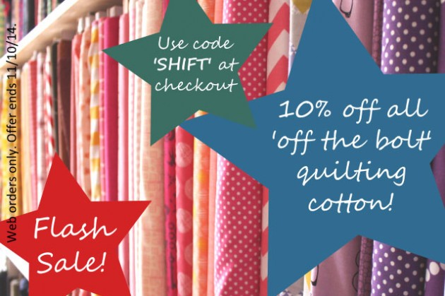 Flash Sale! : 10% off Quilting Cotton : We Need Shelf Space!