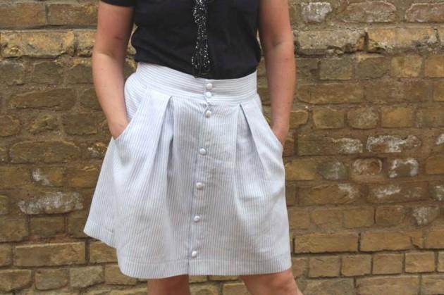 A Kelly Skirt in Stripy Linen